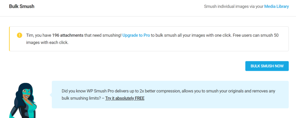 Bulk smush plugin in wordpress