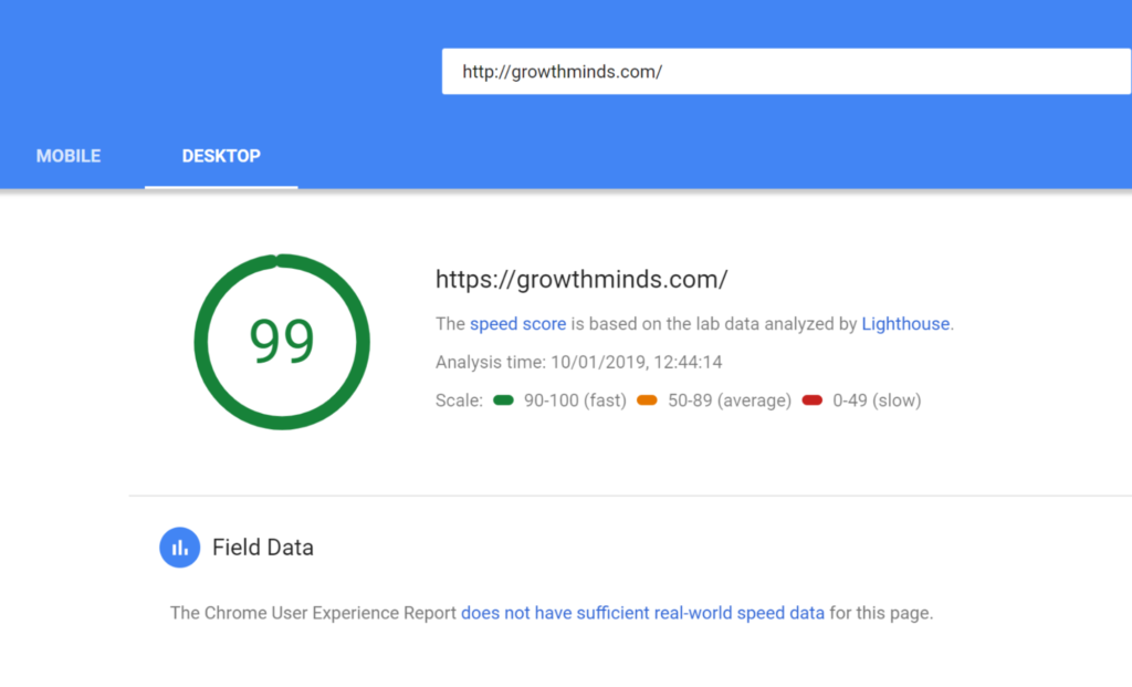 GrowthMinds 99 out of 100 speed score