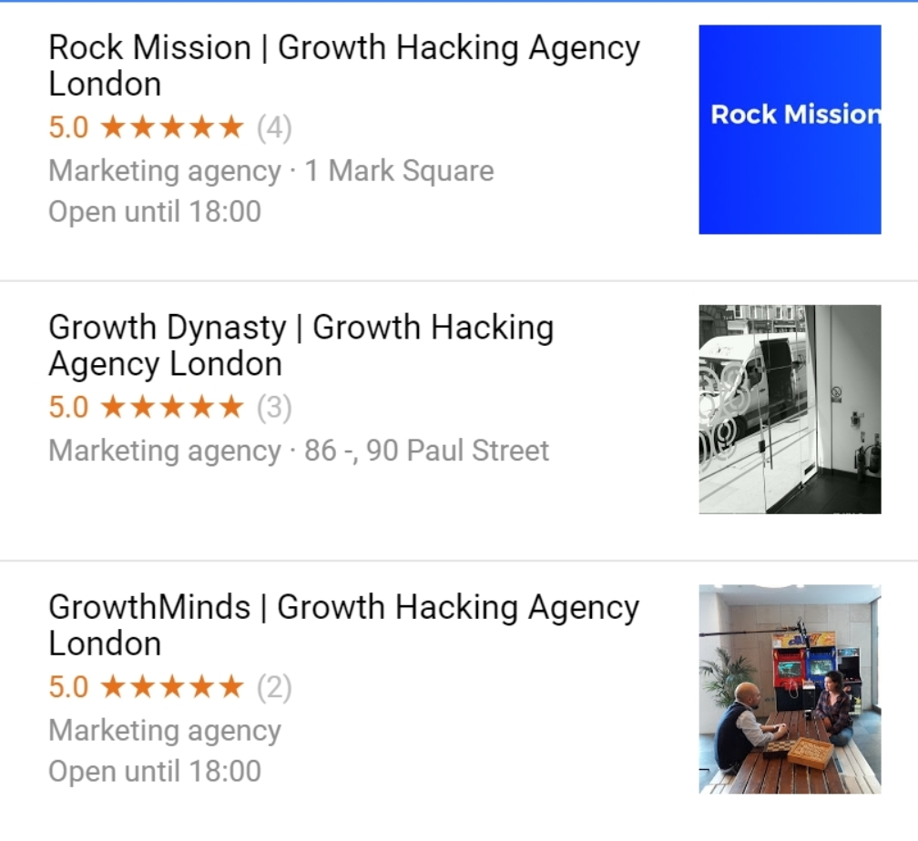 GrowthMinds in the growth hacking agency london map pack