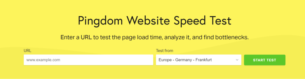 Pingdom Website Speed test homepage